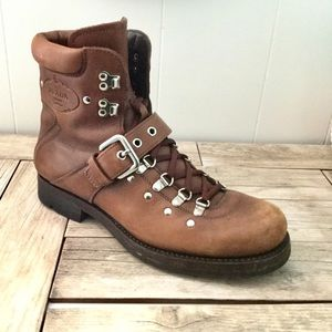 Prada Boots Brown Leather Hiker